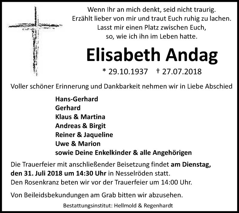 Traueranzeige von  Elisabeth Andag