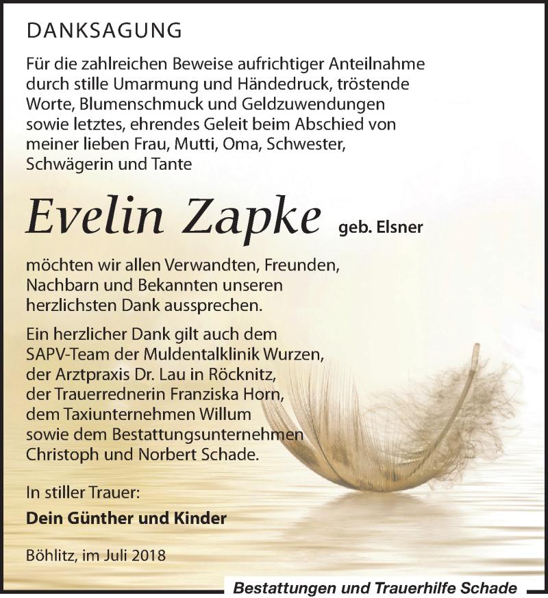 Traueranzeige von  Evelin Zapke