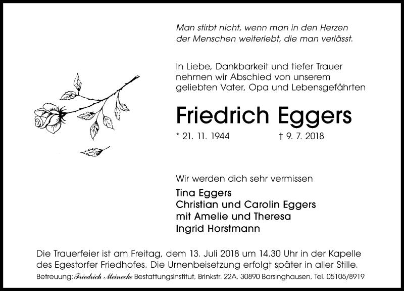 Traueranzeige von  Friedrich Eggers