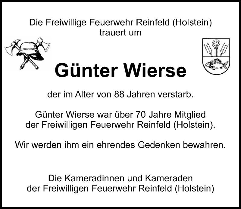 Traueranzeige von  Günter Wierse