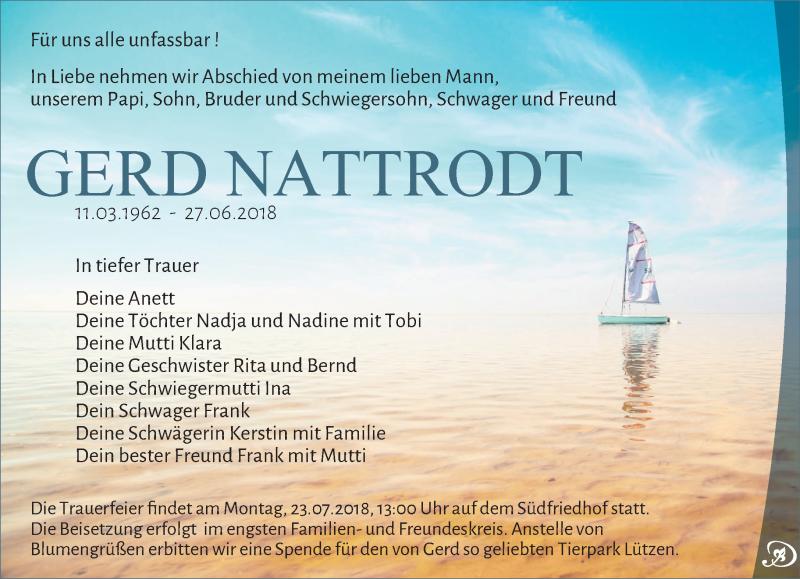 Traueranzeige von  Gerd Nattrodt