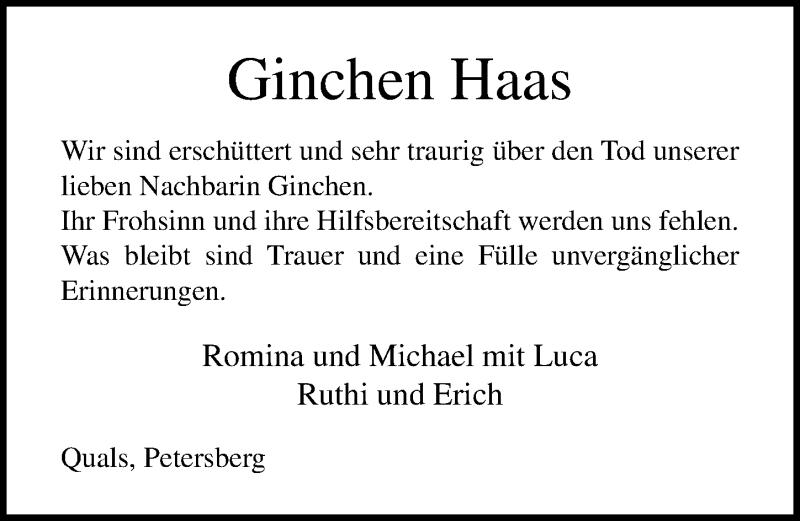 Traueranzeige von  Ginchen Haas