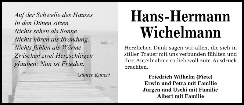 Traueranzeige für Hans-Hermann Wichelmann vom 07.07.2018 aus Kieler Nachrichten