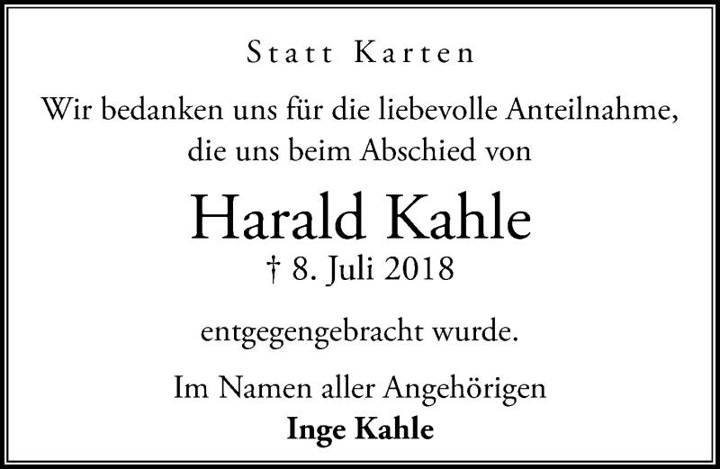 Traueranzeige von  Harald Kahle
