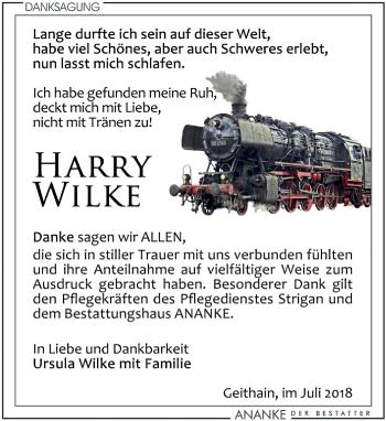 Traueranzeige für Harry Wilke vom 28.07.2018 aus Leipziger Volkszeitung