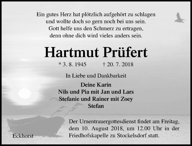 Traueranzeige von  Hartmut Prüfert