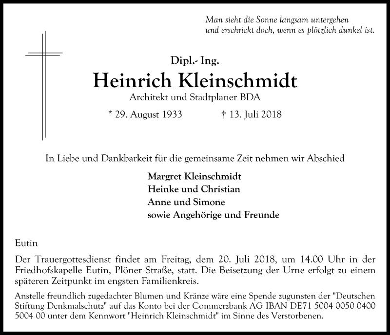 Traueranzeige von  Heinrich Kleinschmidt