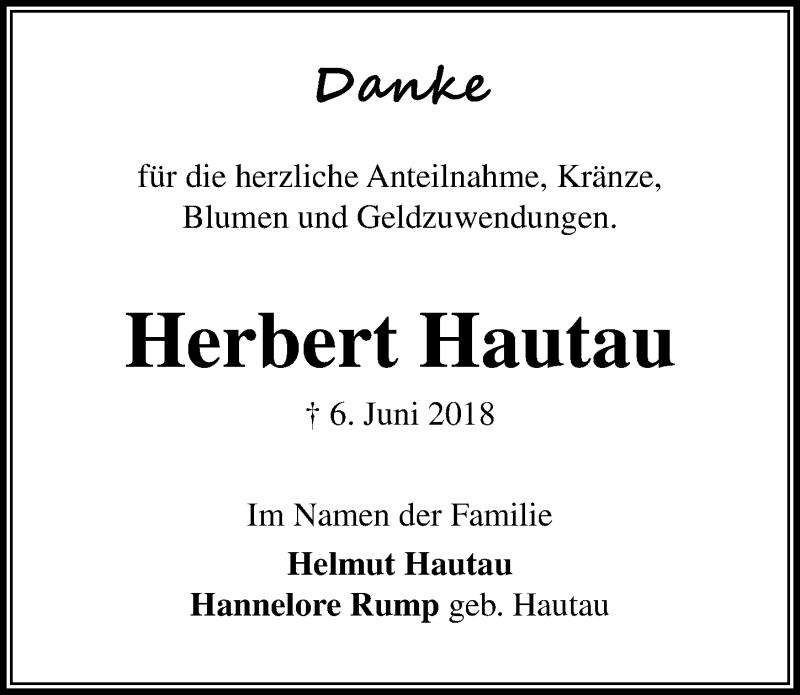Traueranzeige von  Herbert Hautau