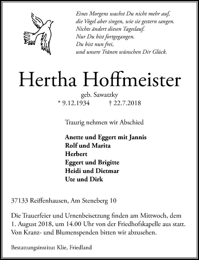 Traueranzeige von  Hertha Hoffmeister