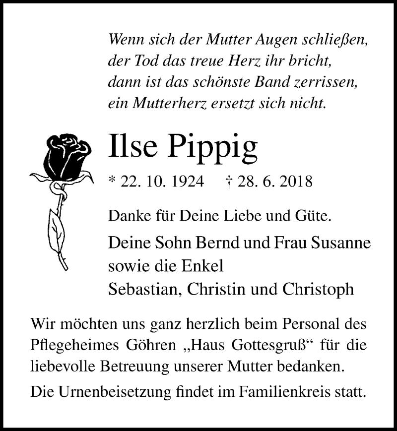 Traueranzeige von  Ilse Pippig