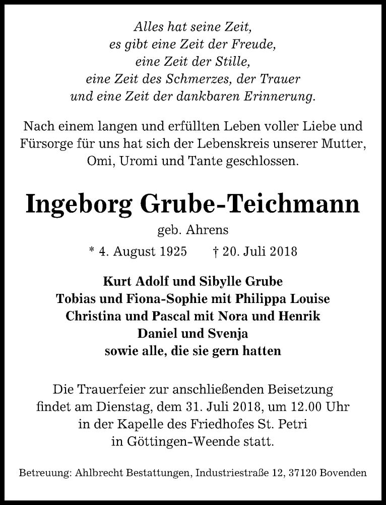 Traueranzeige von  Ingeborg Grube-Teichmann