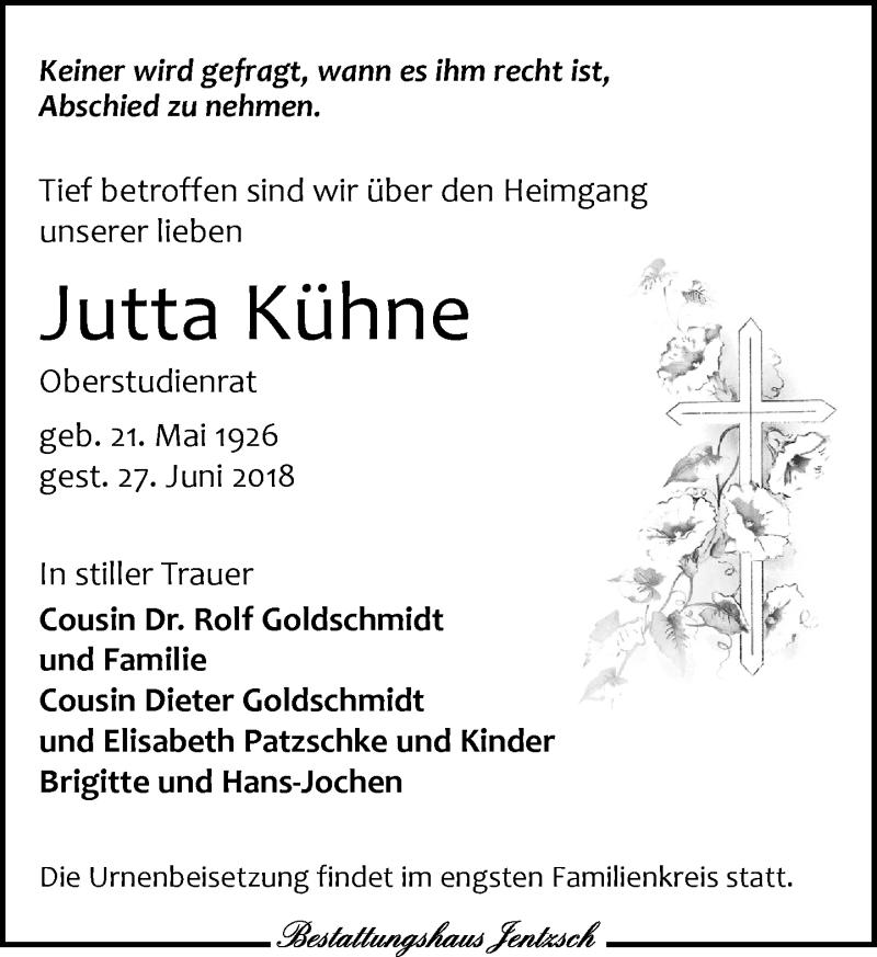 Traueranzeige von  Jutta Kühne