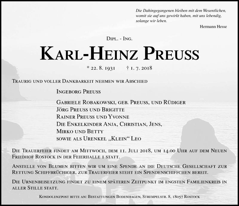 Traueranzeige von  Karl-Heinz Preuss