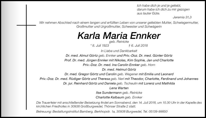 Traueranzeige von  Karla Maria Ennker