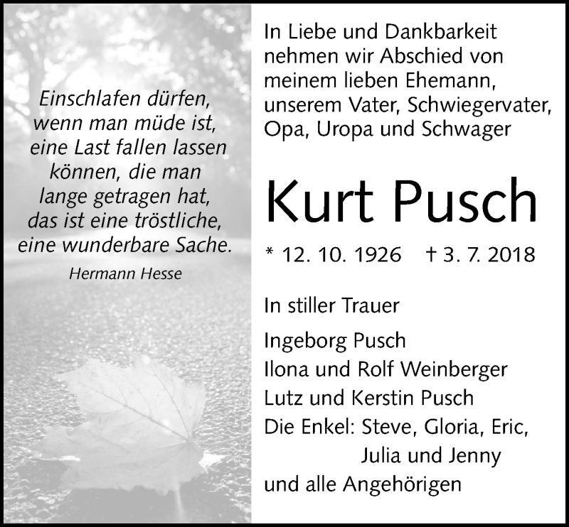 Traueranzeige von  Kurt Pusch