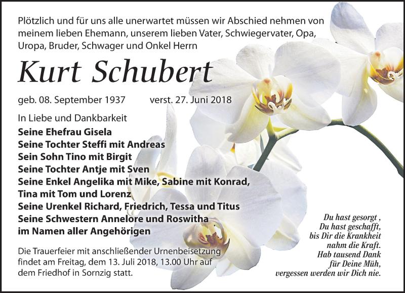 Traueranzeige von  Kurt Schubert