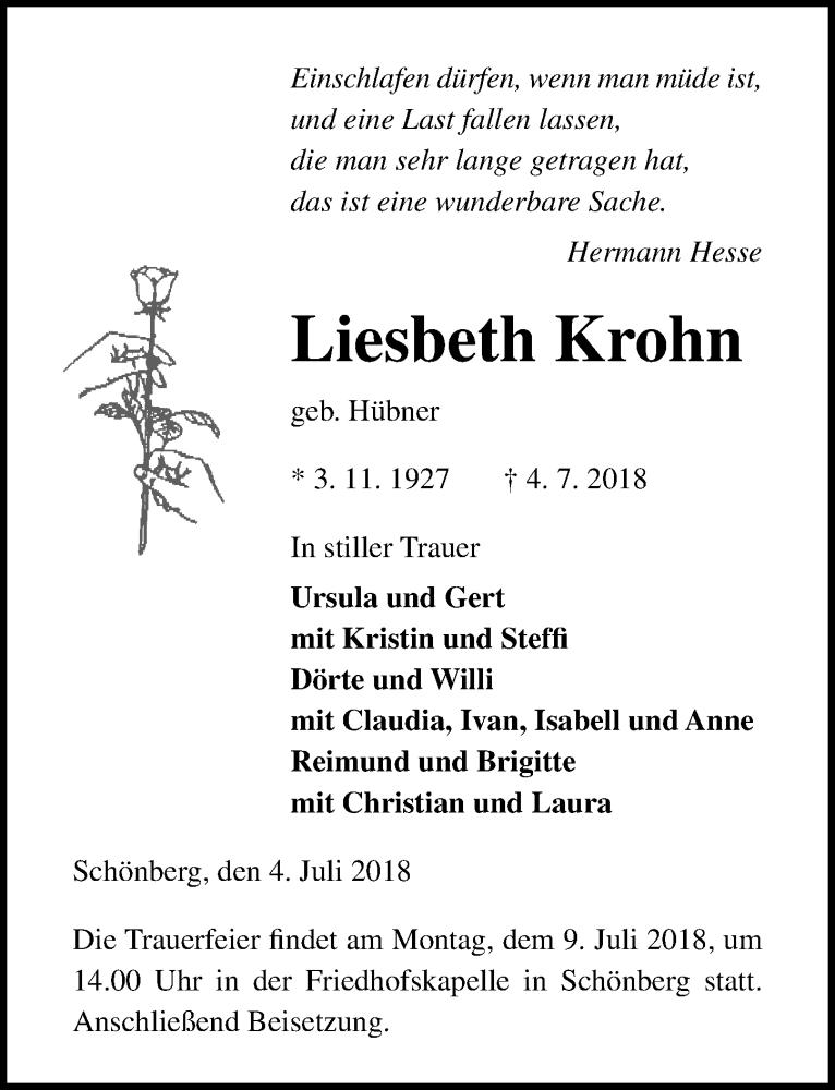 Traueranzeige von  Liesbeth Krohn