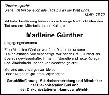 Traueranzeige für Madleine Günther vom 28.07.2018 aus Hannoversche Allgemeine Zeitung/Neue Presse