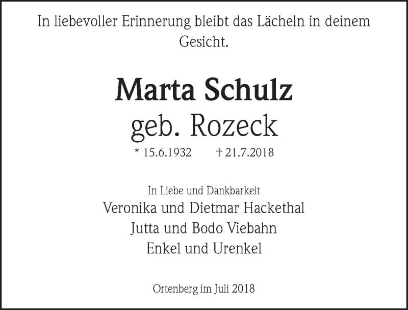 Traueranzeige von  Marta Schulz