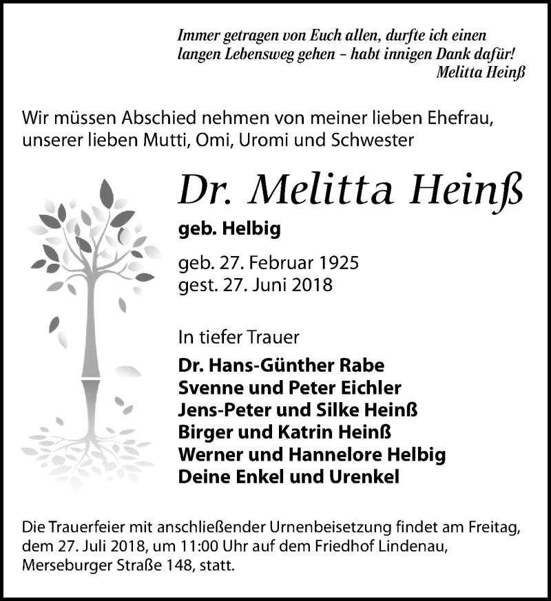 Traueranzeige von  Melitta Heinß