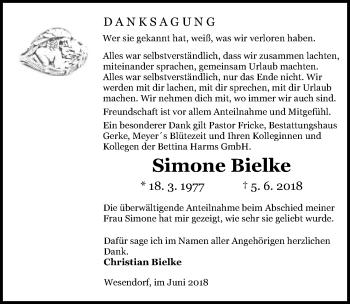 Traueranzeige für Simone Bielke vom 07.07.2018 aus Aller Zeitung
