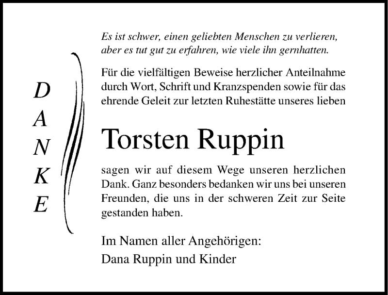 Traueranzeige für Torsten Ruppin vom 21.07.2018 aus Ostsee-Zeitung GmbH