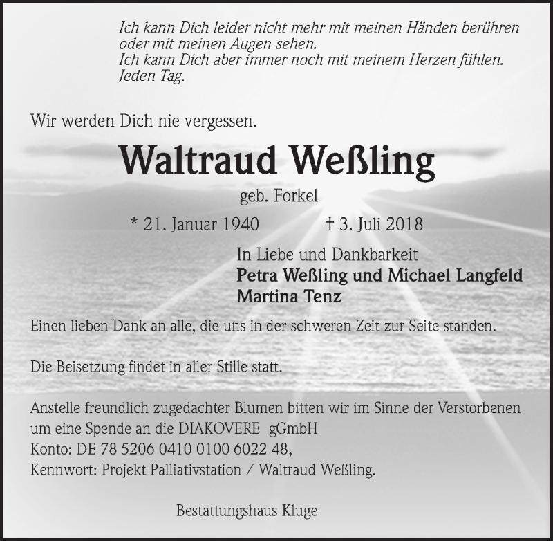 Traueranzeige von  Waltraud Weßling