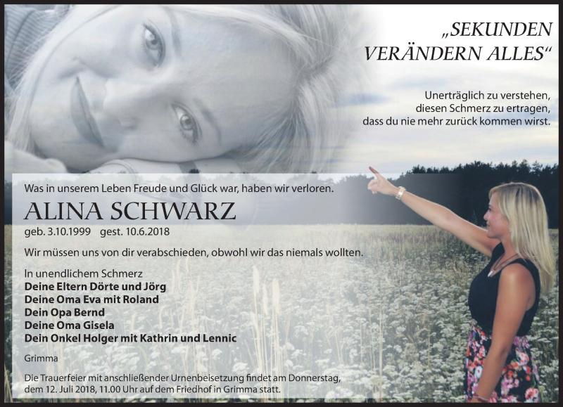 Traueranzeige für Alina Schwarz vom 30.06.2018 aus Leipziger Volkszeitung
