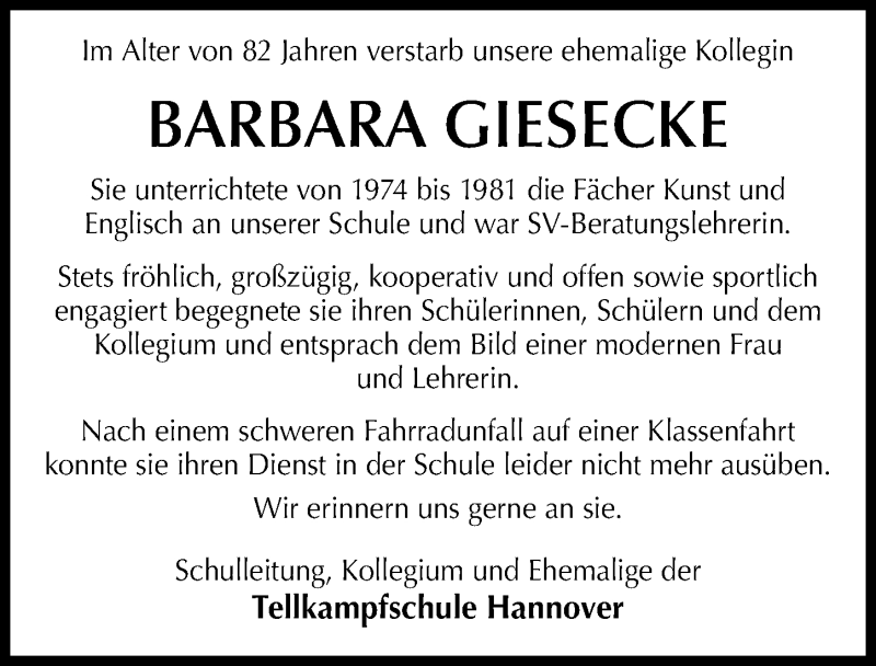 Traueranzeige von  Barbara Giesecke