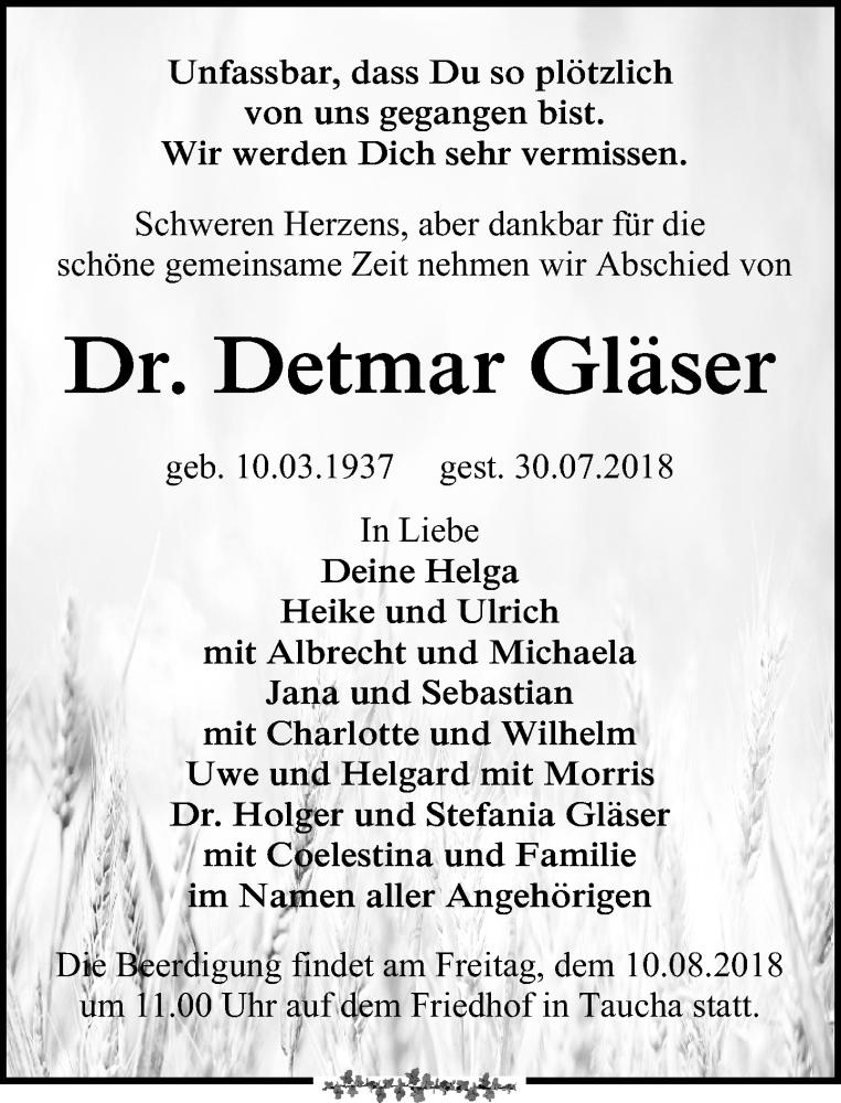Traueranzeige von  Detmar Gläser