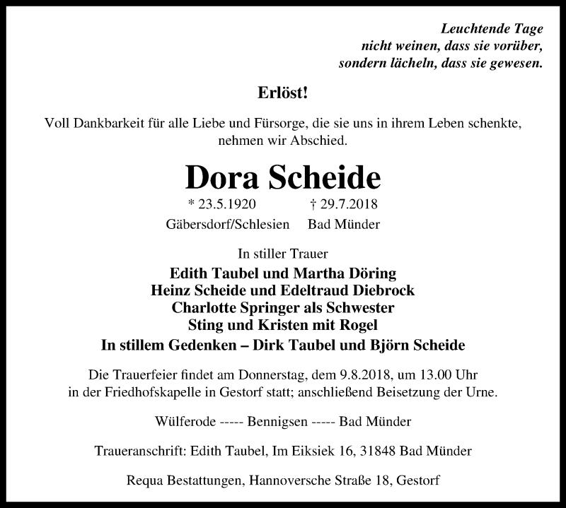 Traueranzeige von  Dora Scheide