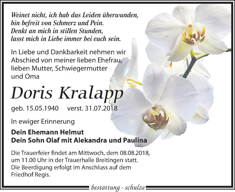 Traueranzeige von  Doris Kralapp