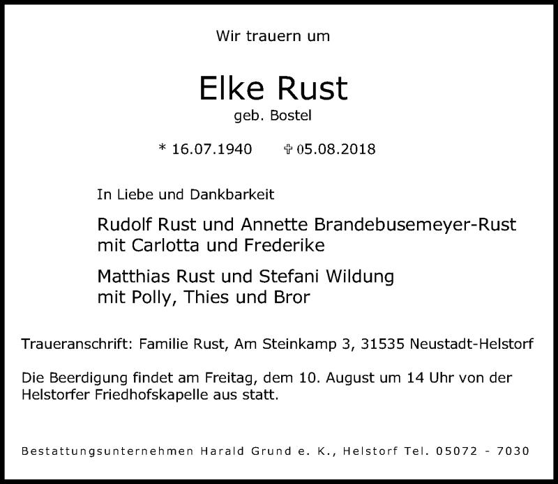Traueranzeige von  Elke Rust