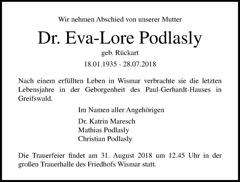 Traueranzeige von  Eva-Lore Podlasly