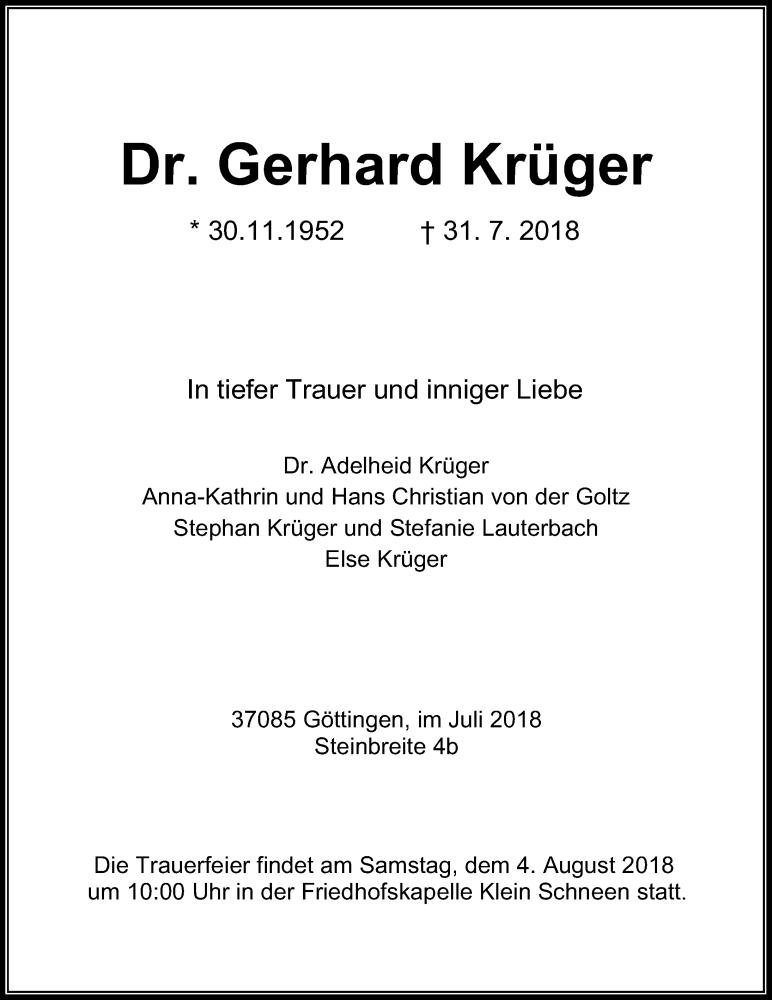 Traueranzeige von  Gerhard Krüger