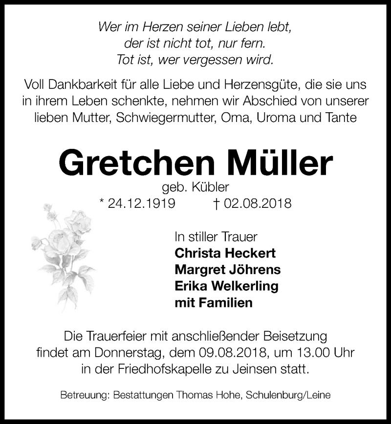 Traueranzeige von  Gretchen Müller