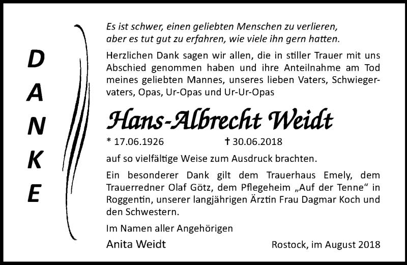 Traueranzeige von  Hans-Albrecht Weidt