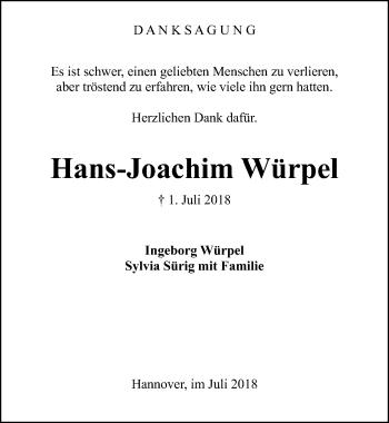 Traueranzeige für Hans-Joachim Würpel vom 04.08.2018 aus Hannoversche Allgemeine Zeitung/Neue Presse
