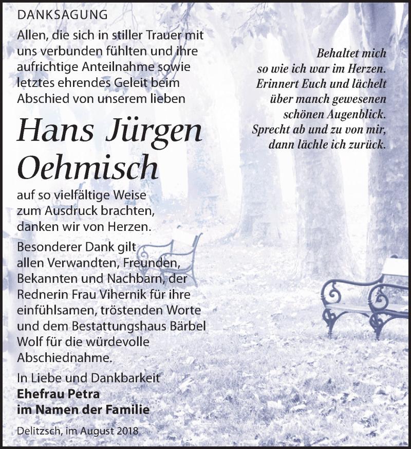 Traueranzeige von  Hans Jürgen Oehmisch