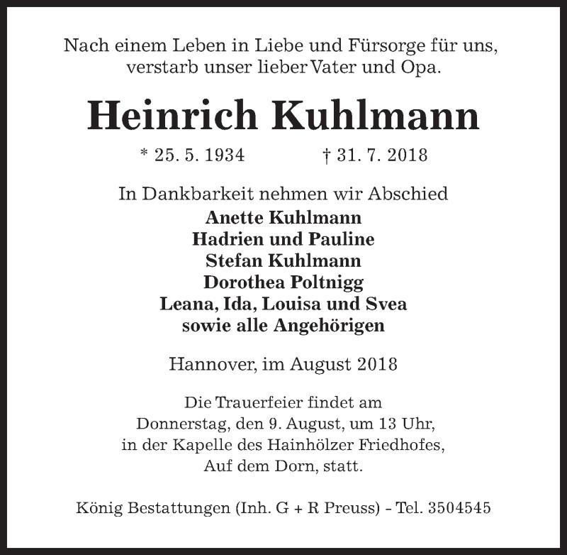 Traueranzeige von  Heinrich Kuhlmann