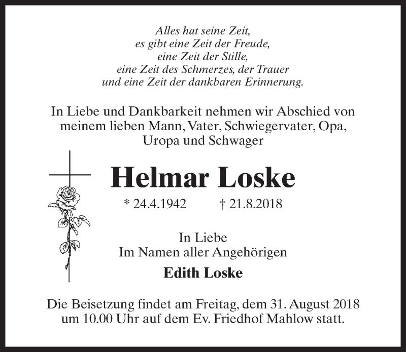 Traueranzeige für Helmar Loske vom 25.08.2018 aus Märkischen Allgemeine Zeitung