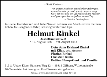 Traueranzeige für Helmut Rinkel vom 18.08.2018 aus Peiner Allgemeine Zeitung
