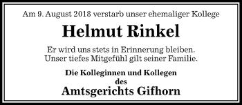 Traueranzeige für Helmut Rinkel vom 25.08.2018 aus Aller Zeitung