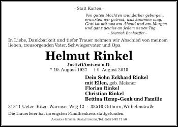 Traueranzeige für Helmut Rinkel vom 18.08.2018 aus Aller Zeitung