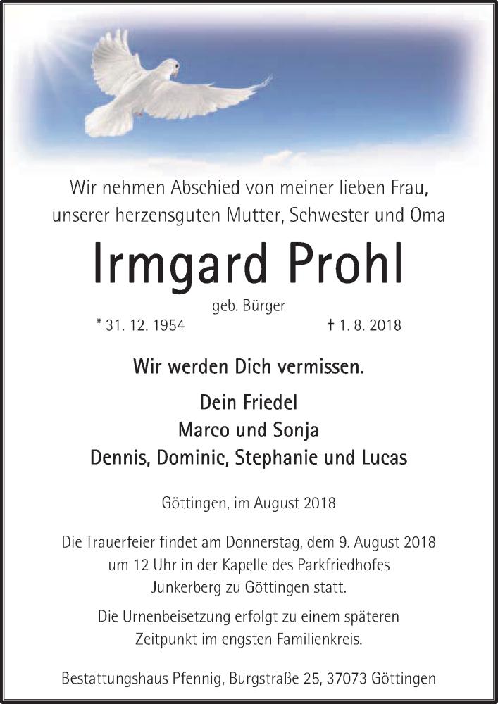 Traueranzeige von  Irmgard Prohl