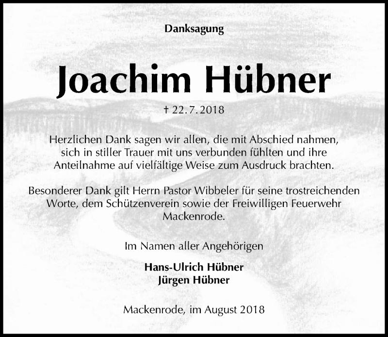 Traueranzeige von  Joachim Hübner