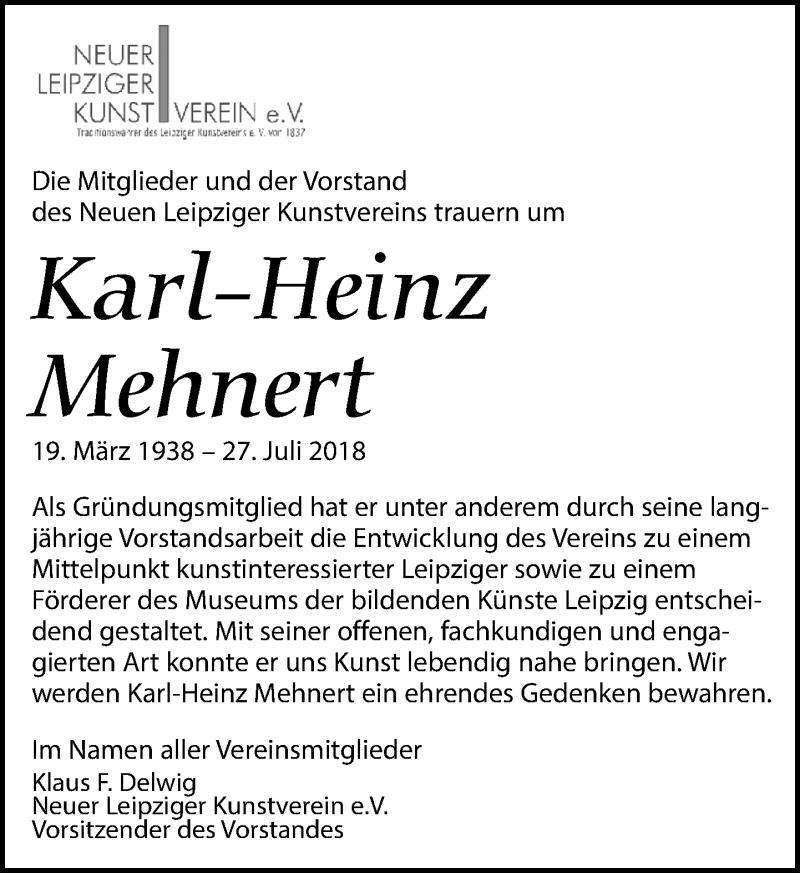 Traueranzeige von  Karl-Heinz Mehnert