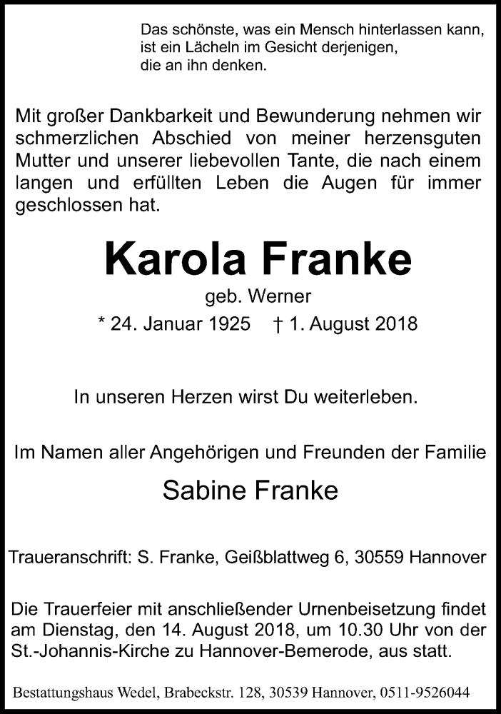 Traueranzeige von  Karola Franke