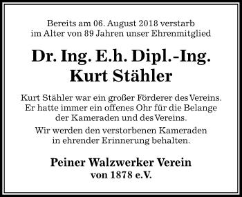 Traueranzeige für Kurt Stähler vom 28.08.2018 aus Peiner Allgemeine Zeitung