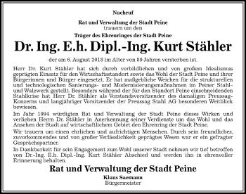 Traueranzeige für Kurt Stähler vom 25.08.2018 aus Peiner Allgemeine Zeitung